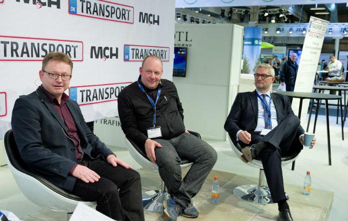 DTL debatterede regler for kørsel med varebiler på Transport 2017. Fra venstre Claus Kvist Hansen, Thomas Jensen og Erik Østergaard. Foto: Per Daugaard