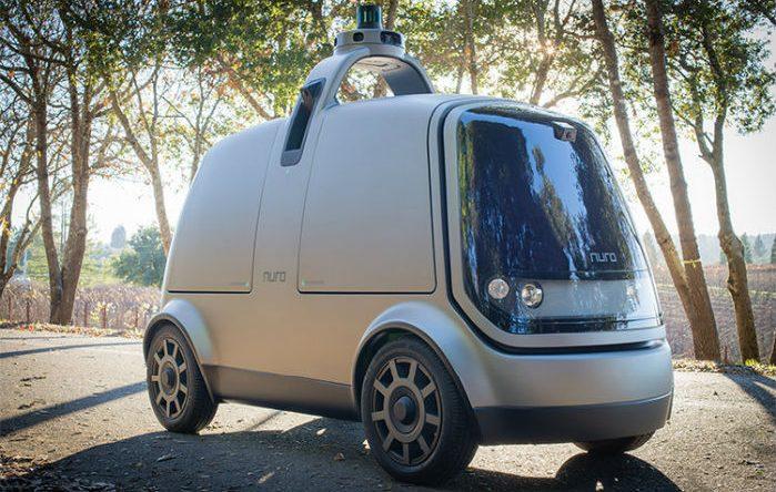"""R1 ligner en håndtaske på hjul. """"Hanken"""" rummer al den sensorik, der gør bilen autonom. Foto: Nuro"""